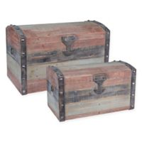 Household Essentials® Weathered 2-Piece Parent Storage Trunk Set in Red