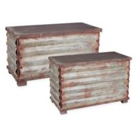Household Essentials® Grooved Metal Small and Large Trunks (Set of 2)