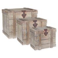Household Essentials® Decorative Wooden Storage Trunks in Antique Brown (Set of 3)