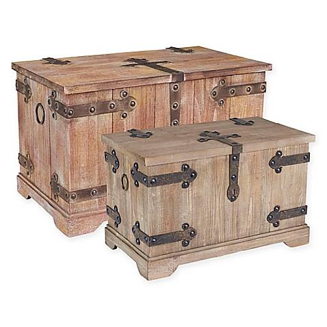Household Essentials® Victorian 2 Piece Storage Trunk Set In Red/Grey
