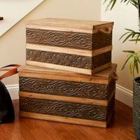 Household Essentials® Metal Banded Wooden Storage Trunks (Set of 2)