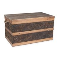 Household Essentials® Large Metal Banded Wooden Storage Trunk Collection
