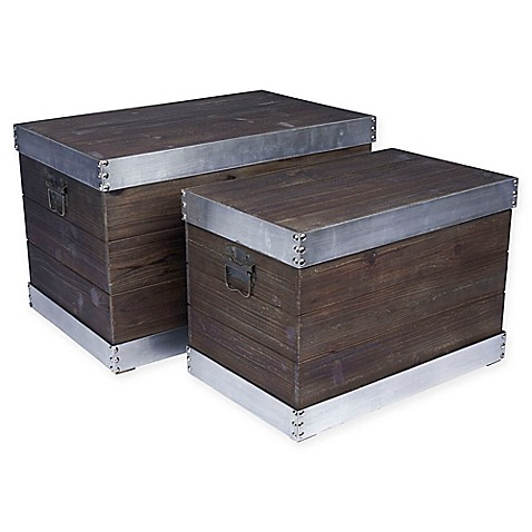 Household Essentials® Silver Trim Banded Wooden Storage Trunk (Set Of ...