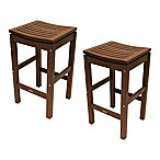 Outdoor Interiors® Eucalyptus Outdoor Pub Stools in Brown Umber (Set of 2)
