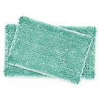 Laura Ashley® Butter Chenille Bath Rugs in Aqua (Set of 2)
