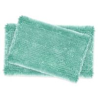 Laura Ashley Butter Chenille Bath Rugs in Aqua (Set of 2)