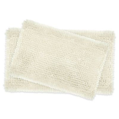 Laura Ashley Er Chenille Bath Rugs In Ivory Set Of 2