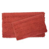 Laura Ashley Astor Striped Bath Rugs in Coral (Set of 2)
