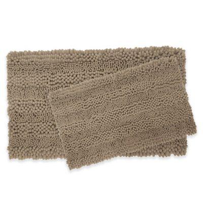 Laura Ashley Astor Striped Bath Rugs In Linen (Set Of 2)