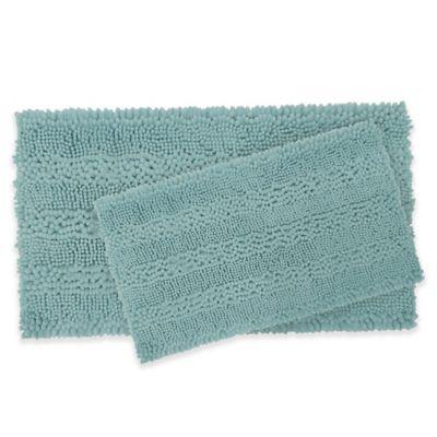 Laura Ashley Astor Striped Bath Rugs In Aqua Set Of 2