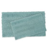 Laura Ashley Astor Striped Bath Rugs in Aqua (Set of 2)