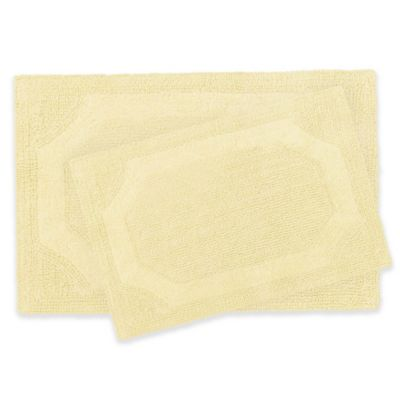 Laura Ashley Reversible Bath Rugs In Yellow (Set Of 2)