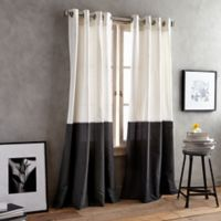 DKNY Color Band 95-Inch Grommet Top Window Curtain Panel in Black