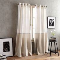 DKNY Color Band 95-Inch Grommet Top Window Curtain Panel in Sand