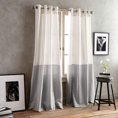 DKNY Color Band 84 Inch Grommet Top Window Curtain Panel In Grey