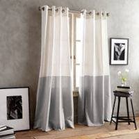 DKNY Color Band 63-Inch Grommet Top Window Curtain Panel in Grey