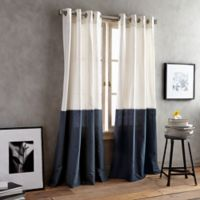 DKNY Color Band 63-Inch Grommet Top Window Curtain Panel in Navy