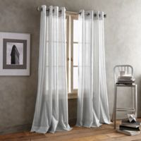 DKNY Crisscross Sheer 63-Inch Grommet Top Window Curtain Panel in Grey