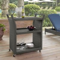 Crosley Palm Harbor Outdoor Wicker Wheeled Bar Cart in Grey