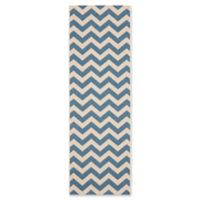 Safavieh Courtyard Chevron 2-Foot 3-Inch x 14-Foot Indoor/Outdoor Runner in Blue
