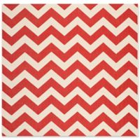 Safavieh Courtyard Chevron 4-Foot Square Indoor/Outdoor Accent Rug in Red