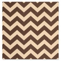 Safavieh Courtyard Chevron 4-Foot Square Indoor/Outdoor Accent Rug in Dark Brown