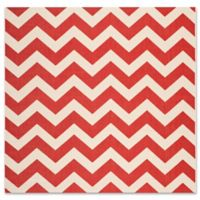 Safavieh Courtyard Chevron 6-Foot 7-Inch Square Indoor/Outdoor Area Rug in Red