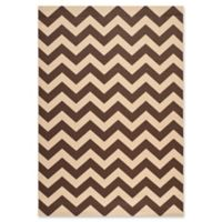Safavieh Courtyard Chevron 6-Foot 7-Inch x 9-Foot 6-Inch Indoor/Outdoor Area Rug in Dark Brown