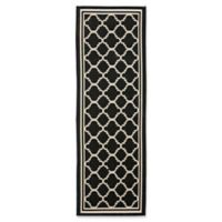 Safavieh Courtyard Miniature Quatrefoil 2-Foot 3-Inch x 6-Foot 7-Inch Indoor/Outdoor Runner in Black