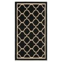Safavieh Courtyard Miniature Quatrefoil 2-Foot 7-Inch x 5-Foot Indoor/Outdoor Accent Rug in Black