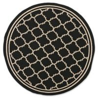 Safavieh Courtyard Miniature Quatrefoil 4-Foot Round Indoor/Outdoor Accent Rug in Black