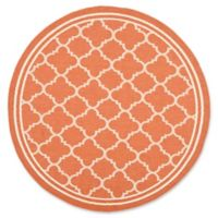 Safavieh Courtyard Miniature Quatrefoil 7-Foot 10-Inch Round Indoor/Outdoor Rug in Terracotta