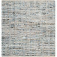 Safavieh Cape Cod Grid 8-Foot Square Area Rug in Natural/Blue