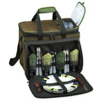 Picnic at Ascot Deluxe Picnic Cooler for 4 in Tan/Green