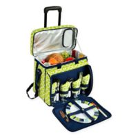 Picnic at Ascot Deluxe Picnic Cooler for 4 with Wheels in Green Trellis