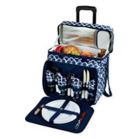 Picnic at Ascot Deluxe Picnic Cooler for 4 with Wheels in Blue Trellis