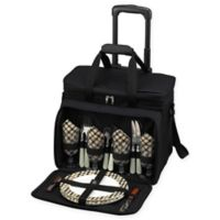 Picnic at Ascot Deluxe Picnic Cooler for 4 with Wheels in Black