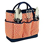 Picnic at Ascot Gardening Tote in Orange/Navy with Tools