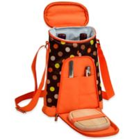 Picnic at Ascot Julia Dot Insulated Wine Tote with Cheese Set in Orange