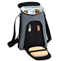 Picnic at Ascot Houndstooth Insulated Wine Tote with Cheese Set in Black/White