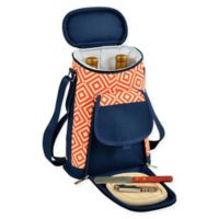 Picnic at Ascot Diamond Insulated Wine Tote with Cheese Set in Orange/Navy