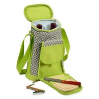Picnic at Ascot Diamond Insulated Wine Tote with Cheese Set in Grey/Green