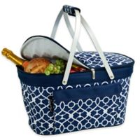 Picnic at Ascot Trellis Insulated Market Basket in Blue