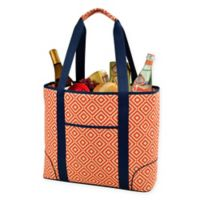 Picnic at Ascot Diamond X-Large Insulated Cooler Tote in Orange/Navy