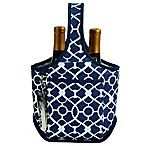 Picnic at Ascot Trellis 2-Bottle Wine Tote with Corkscrew in Blue