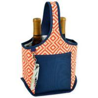 Picnic at Ascot Diamond 2-Bottle Wine Tote with Corkscrew in Orange/Navy