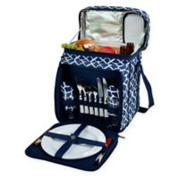 Picnic at Ascot Trellis Picnic Basket/Cooler for 2 in Blue
