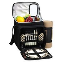 Picnic at Ascot London Plaid Picnic Basket/Cooler for 2 with Blanket in Black