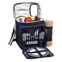 Picnic at Ascot Picnic Basket/Cooler for 2 with Blanket in Navy/White