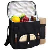 Picnic at Ascot Wine and Cheese Picnic Basket/Cooler with Blanket in Black